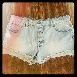Rare Free People High Rise Cut Off Denim Shorts